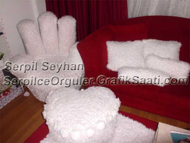 Yün örgüden dekoratif koltuk takımı iç dekarasyon