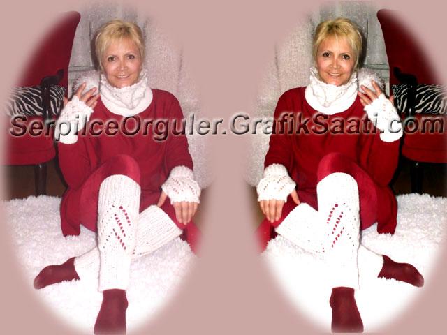 Serpilce.İkiz kardeş modası ve Serpilce.beyaz boyunluk atkı eldiven tozluk ve bayan çantası modelleri